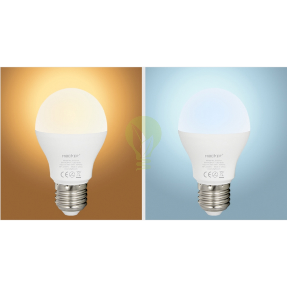 LED Lamp RGB en CCT grote fitting E27 dimbaar 6 Watt 550 lumen - lamp aan warm wit en daglicht wit