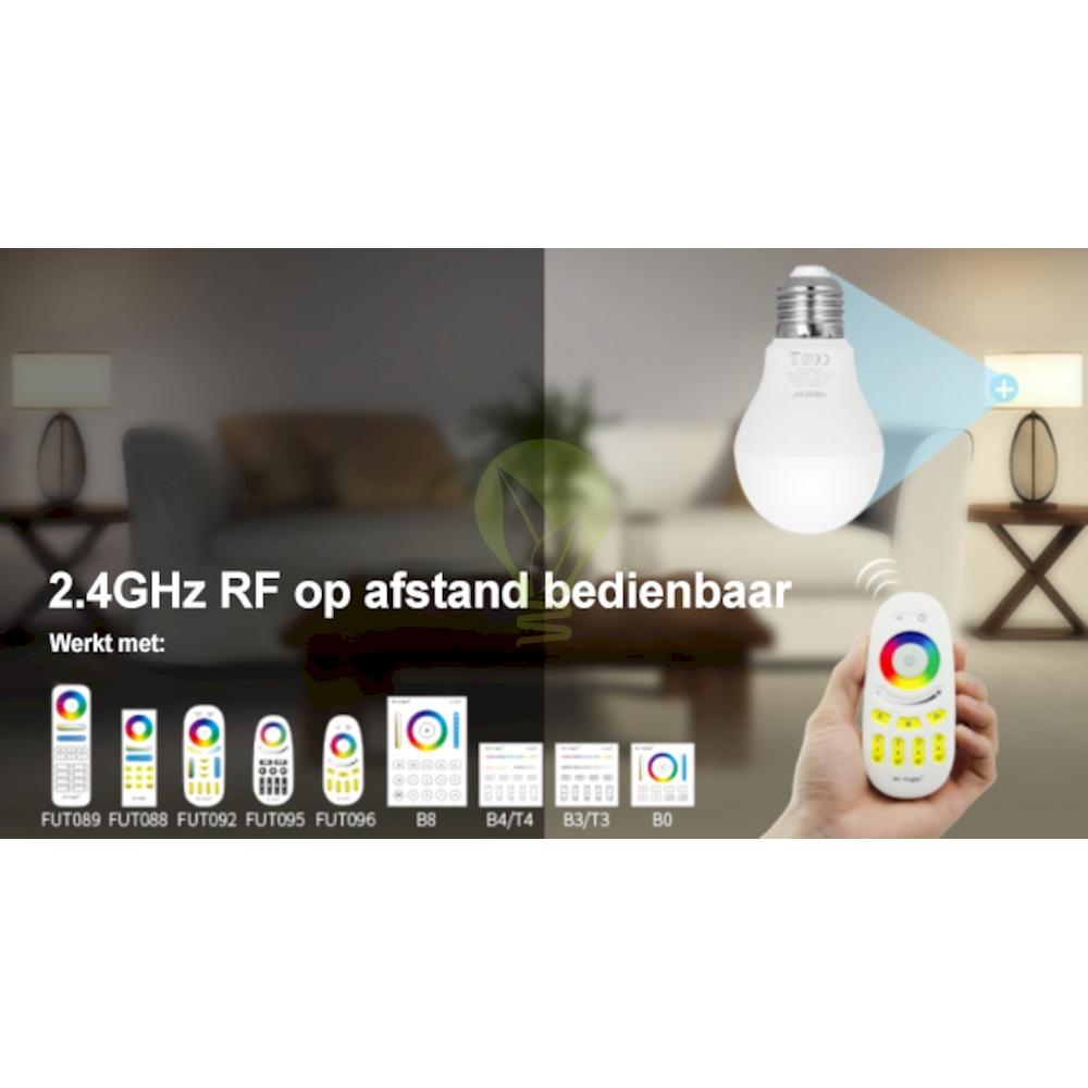 LED Lamp RGB en CCT grote fitting E27 dimbaar 6 Watt 550 lumen - besturing Led Lamp