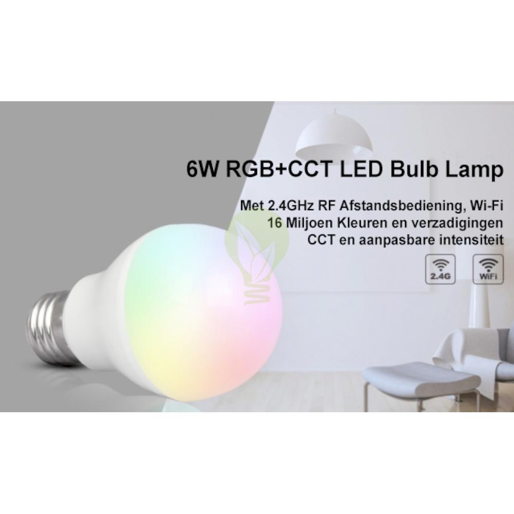 LED Lamp RGB en CCT grote fitting E27 dimbaar 6 Watt 550 lumen - 16 miljoen kleuren