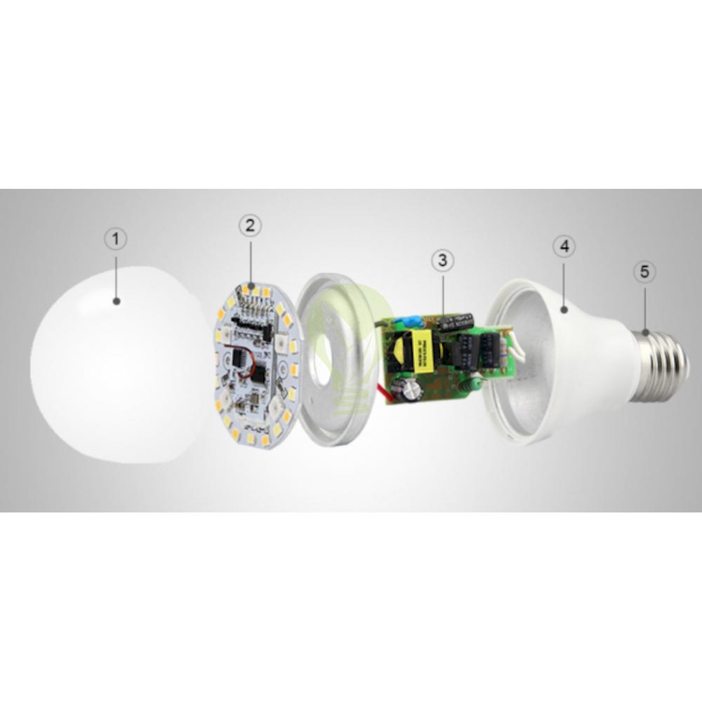 LED Lamp RGB en CCT grote fitting E27 dimbaar 6 Watt 550 lumen - onderdelen Led Lamp