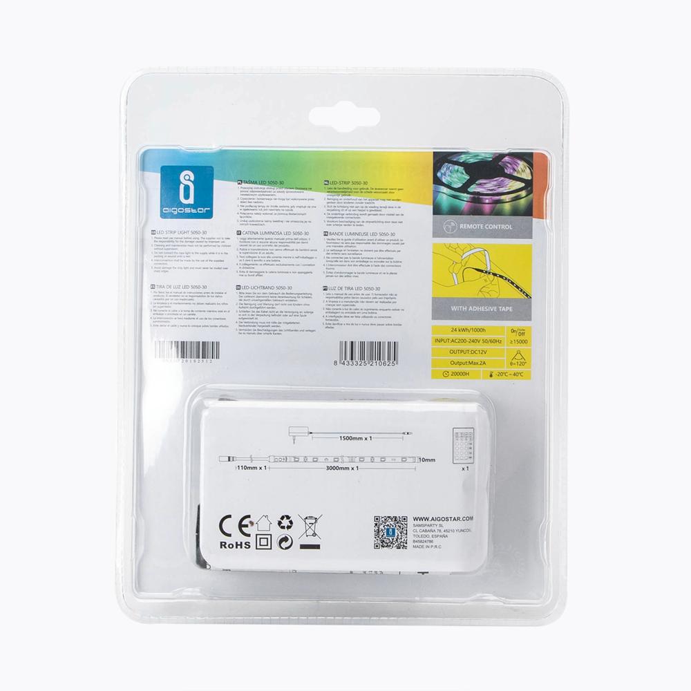 LED Strip RGB 3 meter bundel 12 Volt IP65 - achterkant verpakking