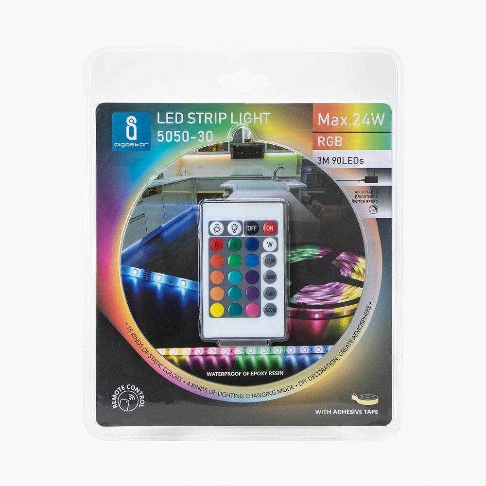 LED Strip RGB 3 meter bundel 12 Volt IP65 - verpakking voorkant