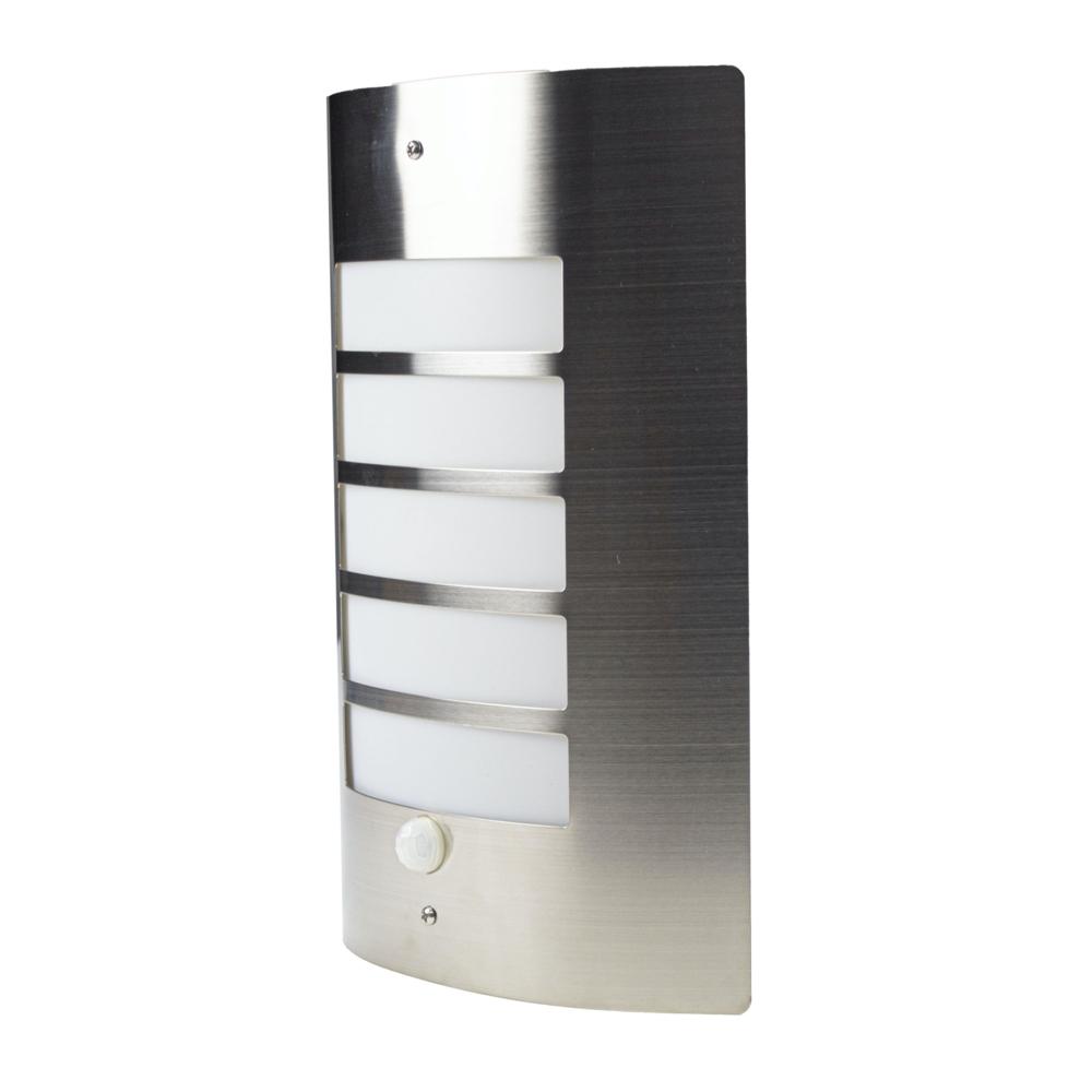 Wandlamp met sensor - RVS - E27 fitting - IP44 waterdicht - zijkant