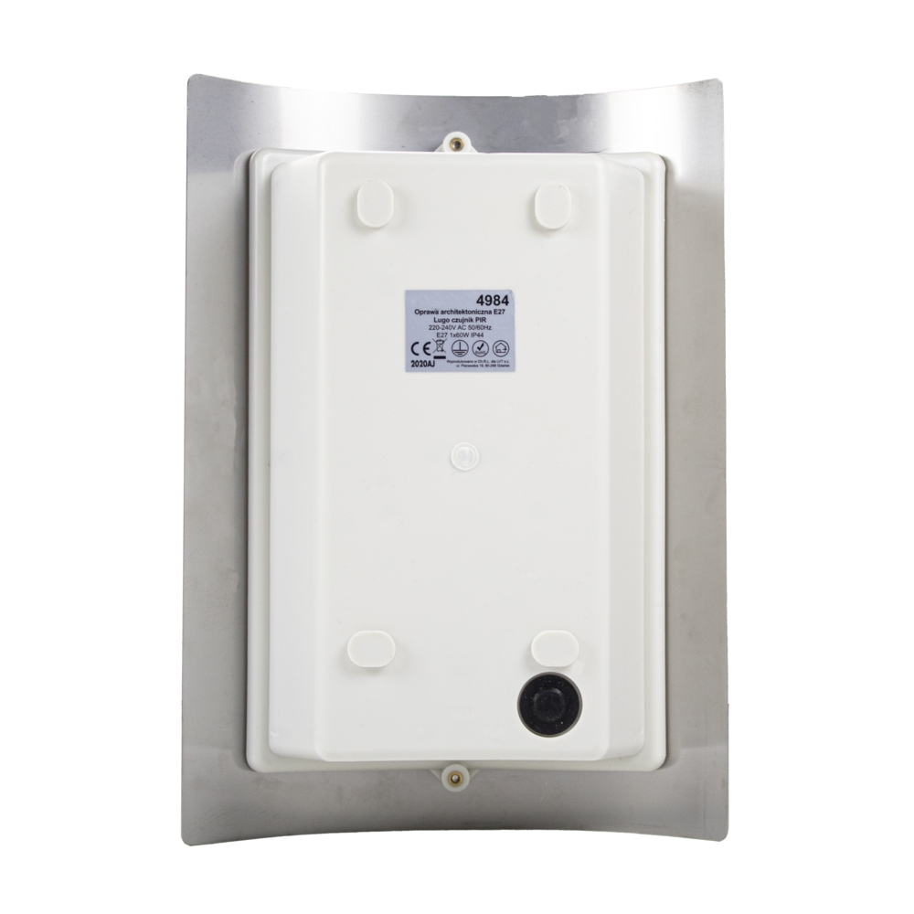 Wandlamp met sensor - RVS - E27 fitting - IP44 waterdicht - achterkant