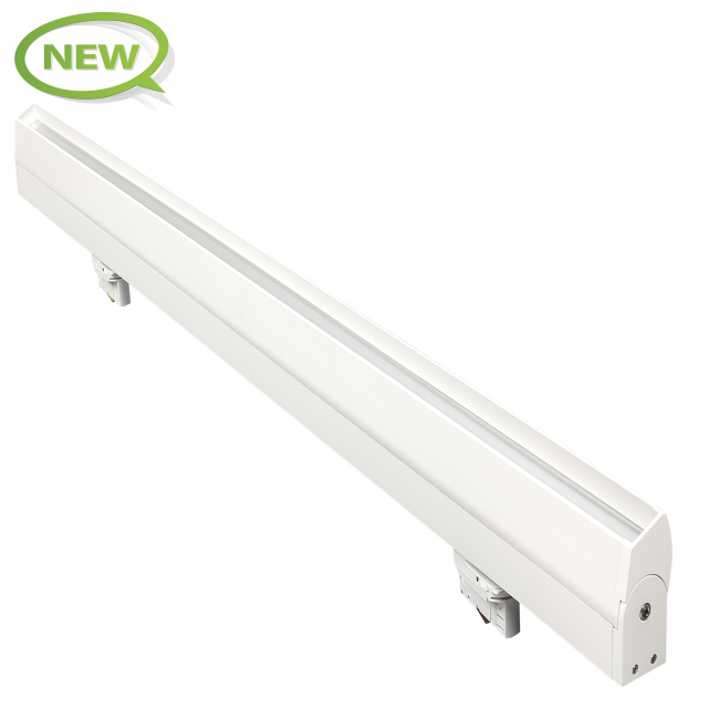 angwerpige 3-fase railspot 120cm wit - kantelbaar
