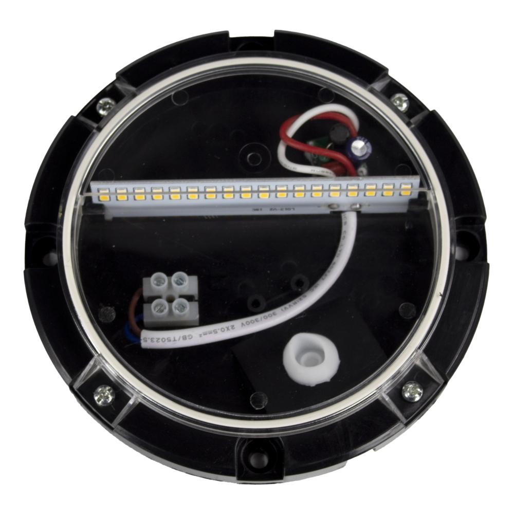 Ronde LED Opbouw wandlamp - voetpad lamp - zwart - 3000K warm wit