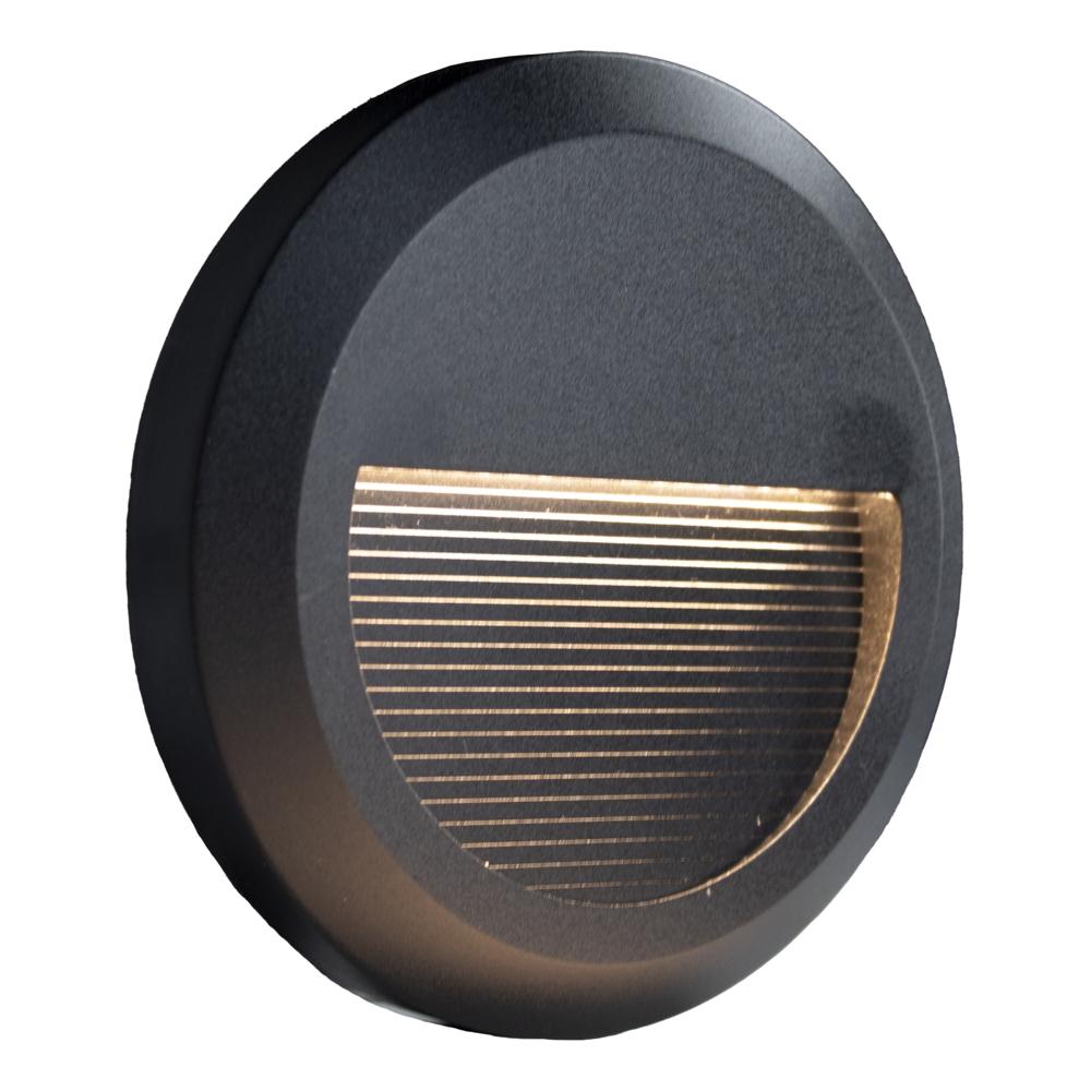 Ronde LED Opbouw wandlamp - voetpad lamp - zwart - 3000K warm wit - schuinaanzicht