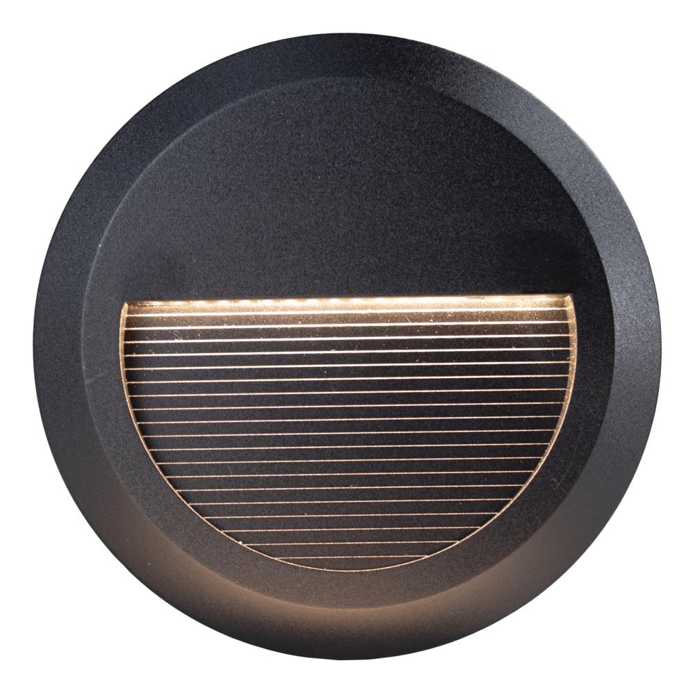 Ronde LED Opbouw wandlamp - voetpad lamp - zwart - 3000K warm wit - vooraanzicht