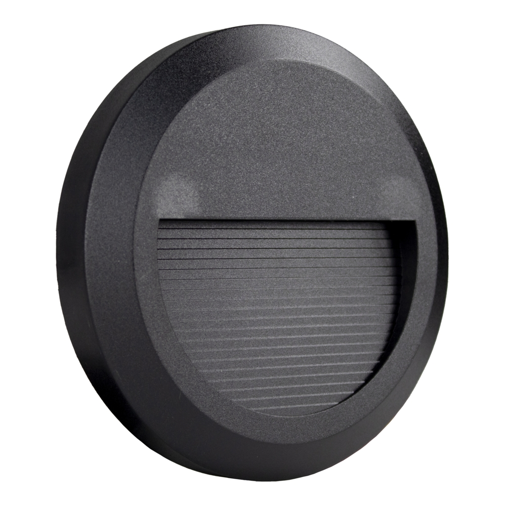 Ronde LED Opbouw wandlamp - voetpad lamp - zwart - 3000K warm wit - voorkant