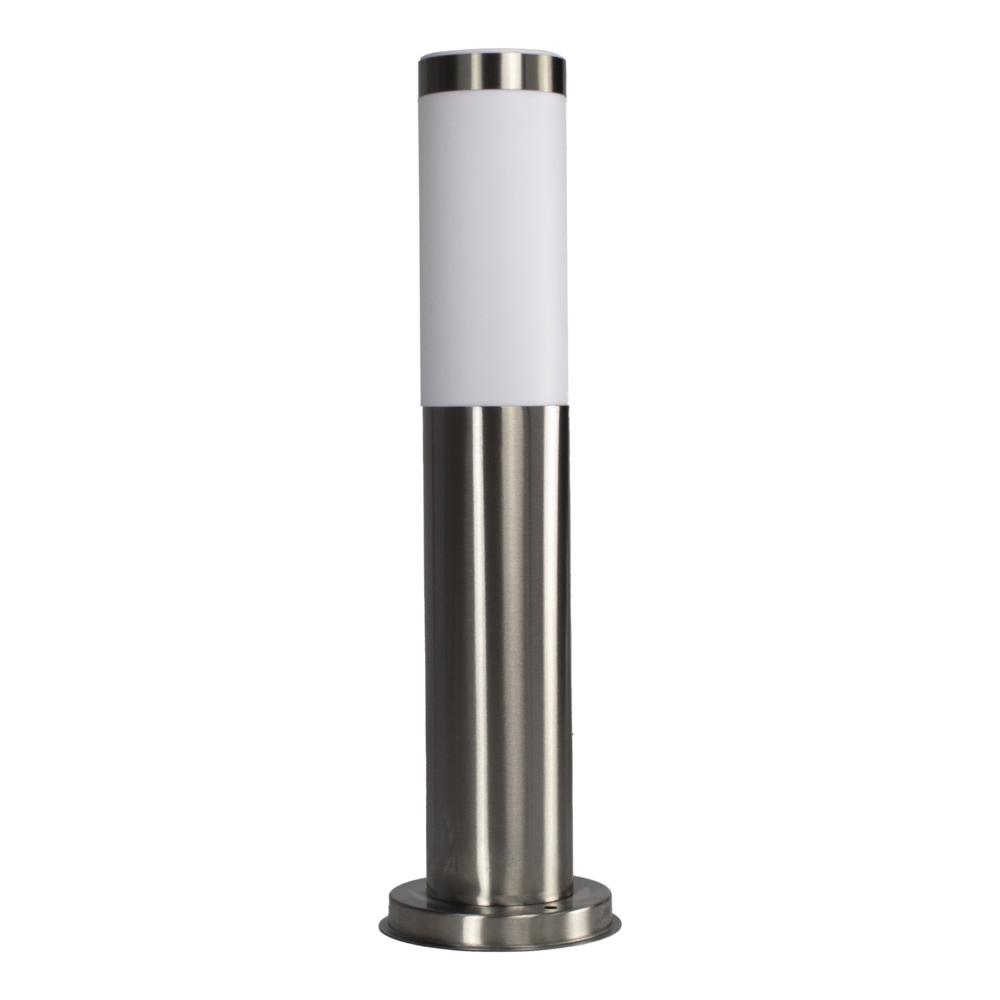 Ronde tuinpaal - buiten staander - zilver - 45cm - E27 fitting - rvs look - vooraanzicht