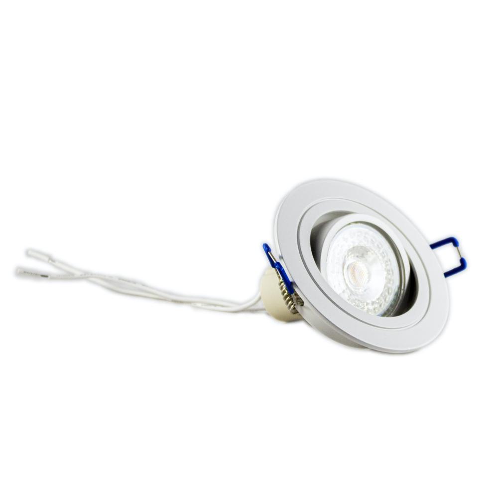 Witte inbouwspot rond kantelbaar 12 Volt 2700K - Warm wit - spot gekanteld