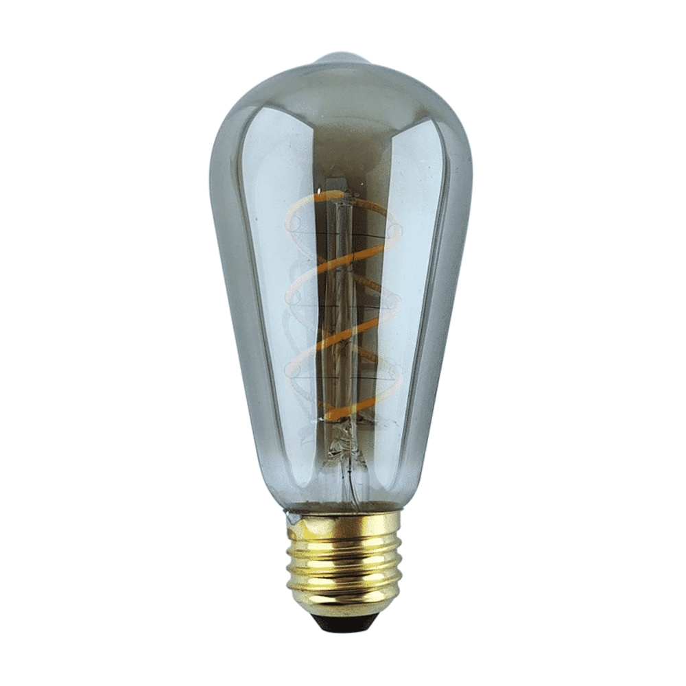 Calex rustic LED lamp - Edison - Spiraal - Zilver glass - smoked - Titanium - Dimbaar