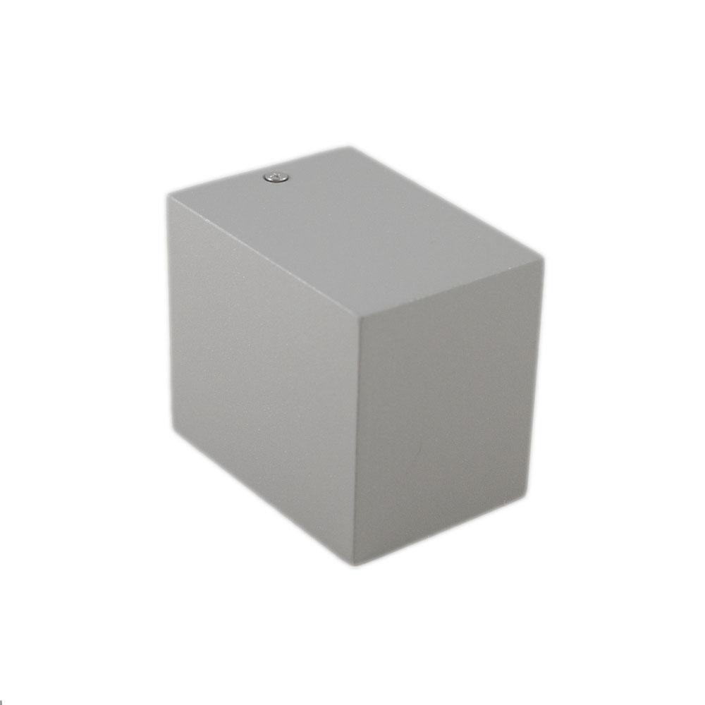 Buitenspot vierkant zilver san diego GU10 fitting - zijaanzicht