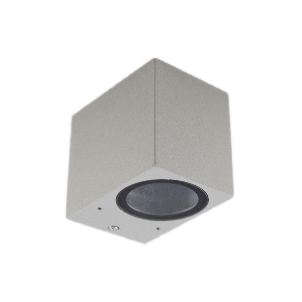 Buitenspot vierkant zilver san diego GU10 fitting - vooraanzicht lamp uit