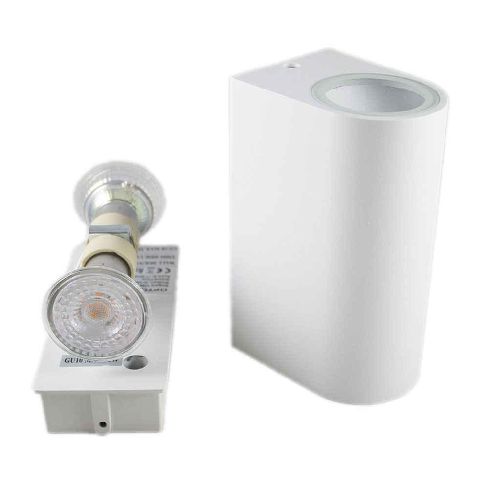 Led Buitenspot rond wit 2 keer GU10 fitting IP44 - fitting inclusief spots