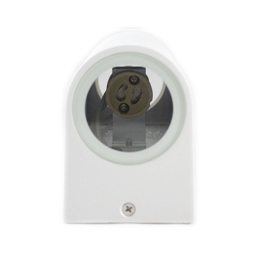 Led Buitenspot rond wit 2 keer GU10 fitting IP44 - onderkant wandlamp