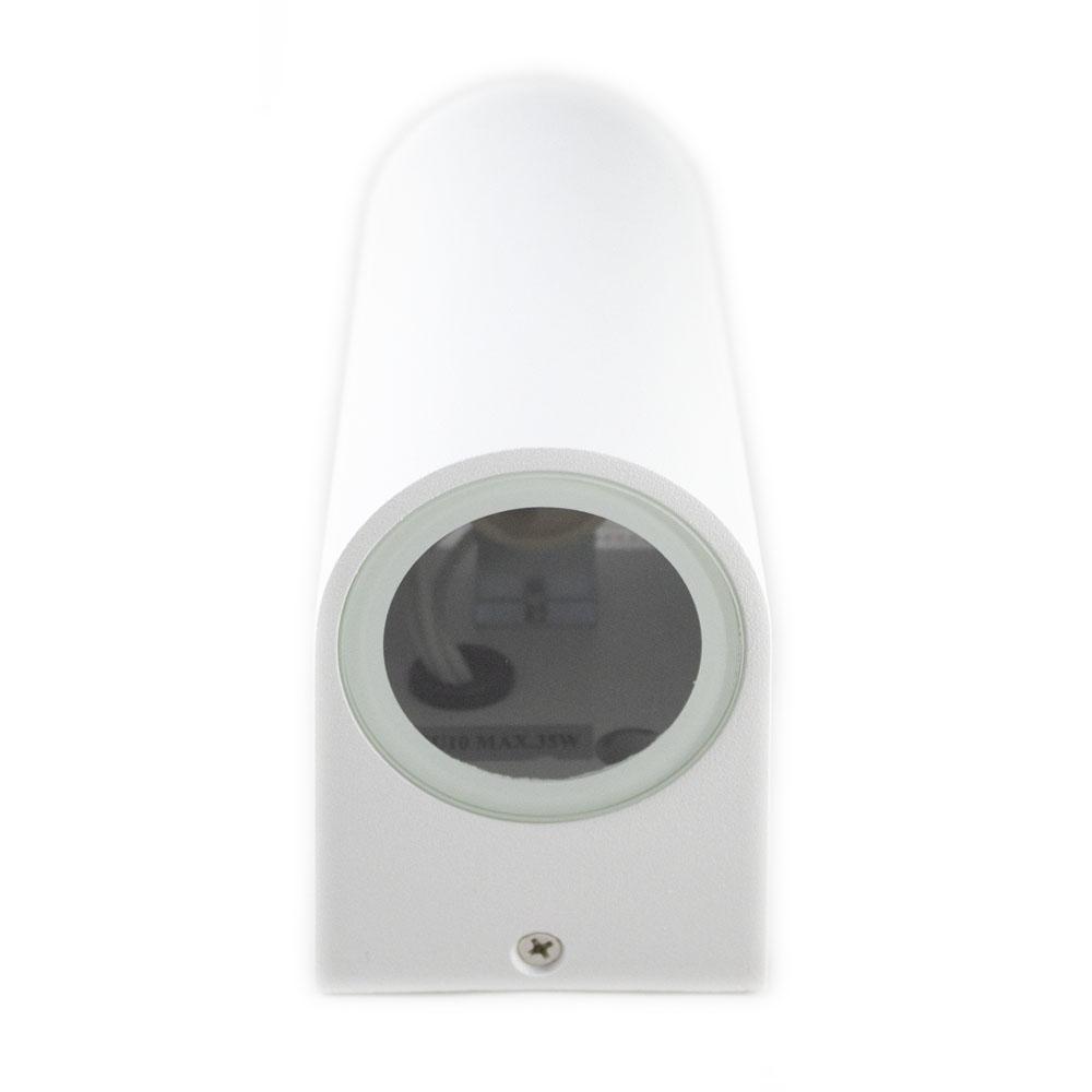 Led Buitenspot rond wit 2 keer GU10 fitting IP44 - onderaanzicht wandlamp