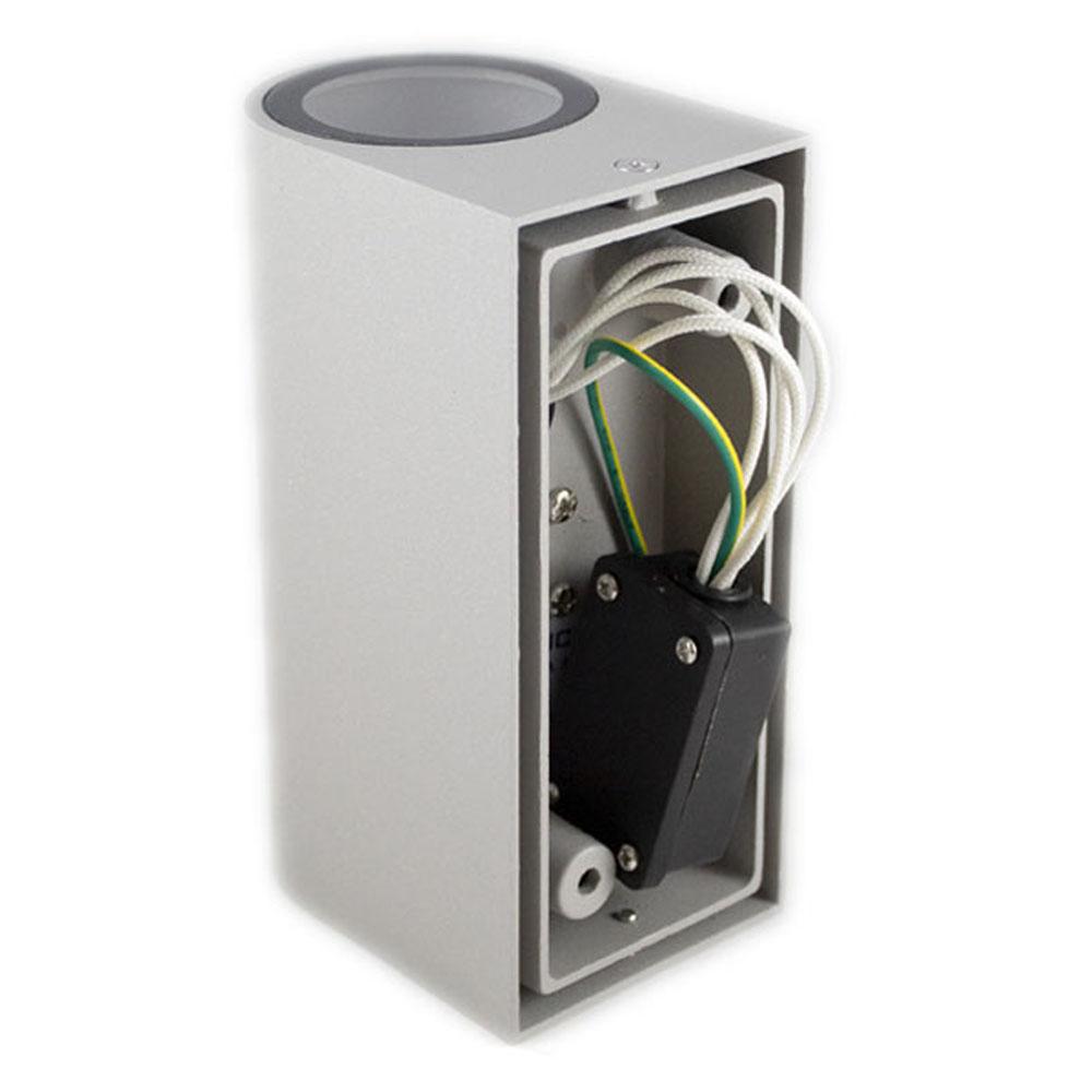 Buiten wandlamp zilver 2 keer GU10 fitting IP44 - achterkant bekabeling