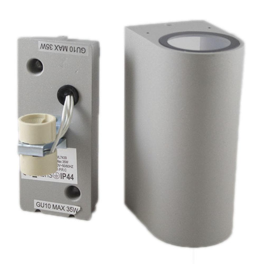 Buiten wandlamp zilver 2 keer GU10 fitting IP44 - onderdelen
