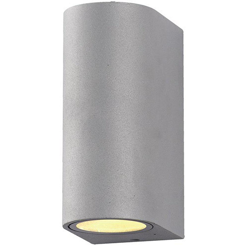 Buiten wandlamp zilver 2 keer GU10 fitting IP44 - vooraanzicht