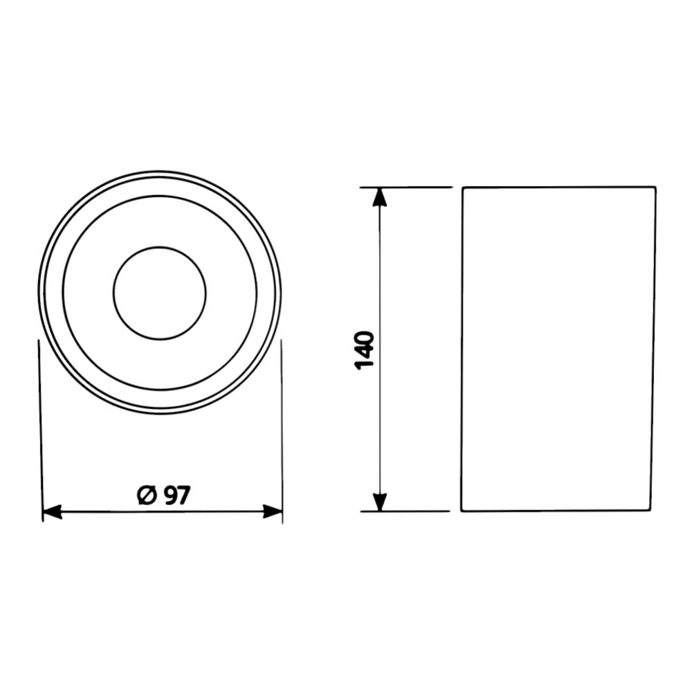LED opbouw spot gu10 - zwart met goud - dimbaar - rond - 140mm - afmetingen