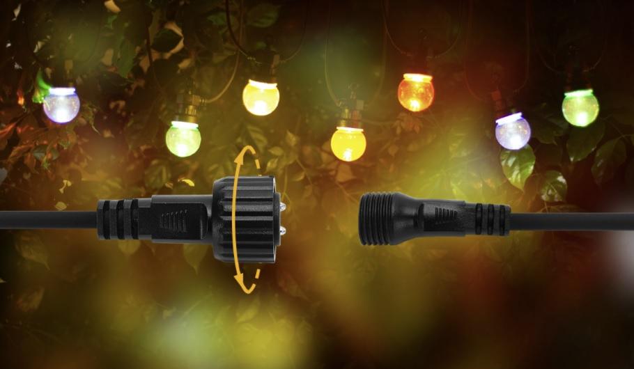 Sfeerfoto lichtsnoer - prikkabel met gekleurde lampen - 8 meter - plug & play
