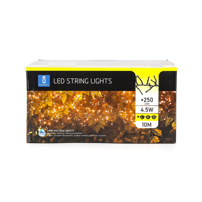 Sfeerverlichting - kerstverlichting - 10 meter - warm wit - 250 led's - voorkant verpakking