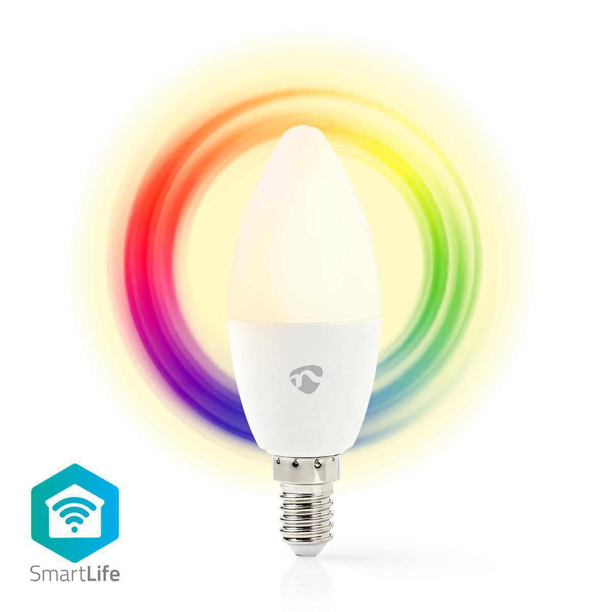 Slimme Led Lamp Wi-Fi - RGB en warm wit E14 - vooraanzicht lamp kleuren