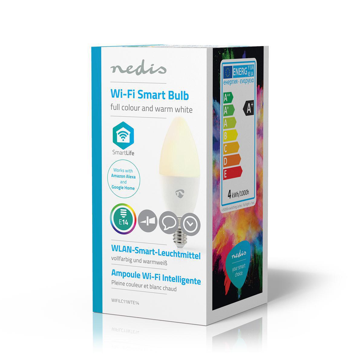 Slimme Led Lamp Wi-Fi - RGB en warm wit E14 - zijaanzicht verpakking