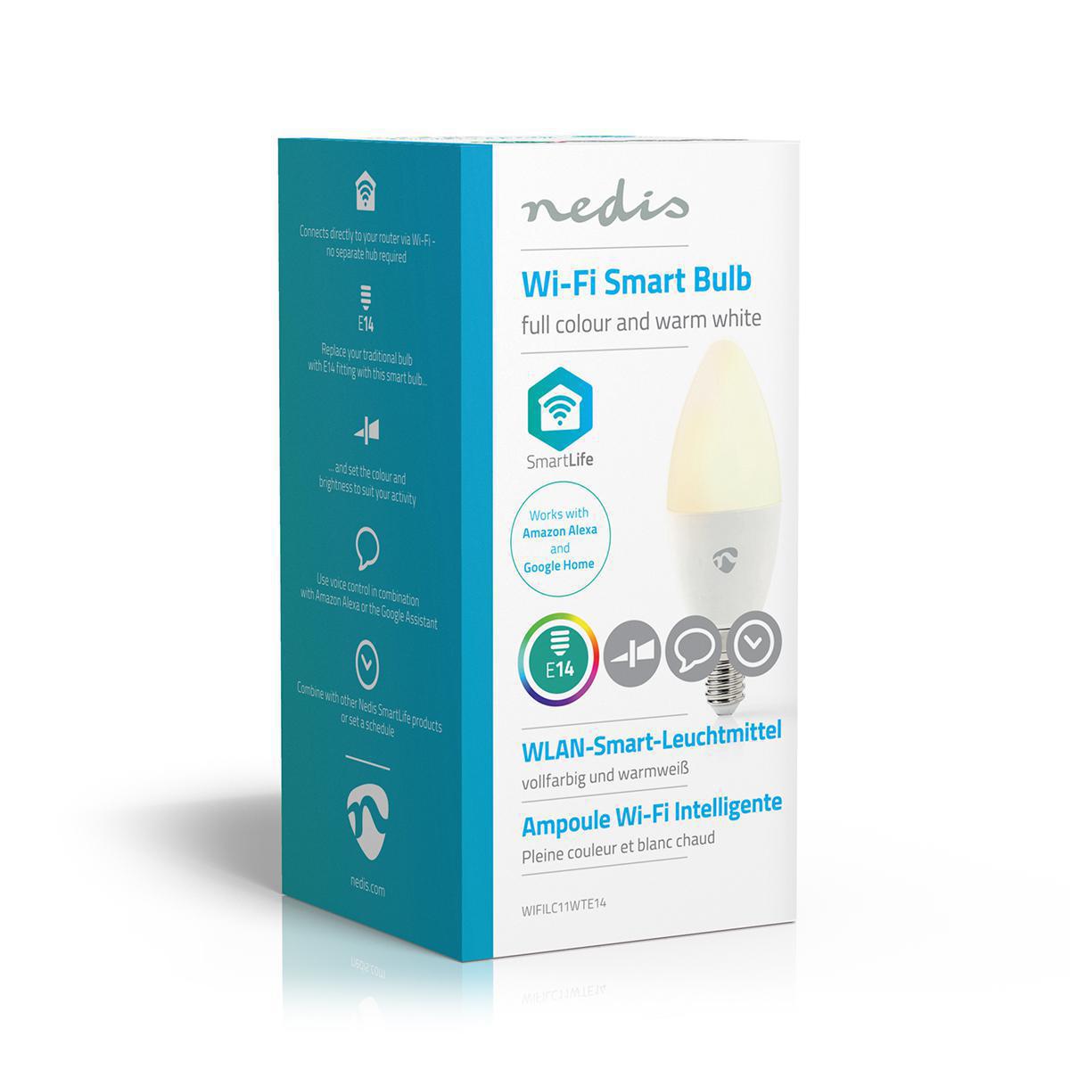 Slimme Led Lamp Wi-Fi - RGB en warm wit E14 - zijkant verpakking