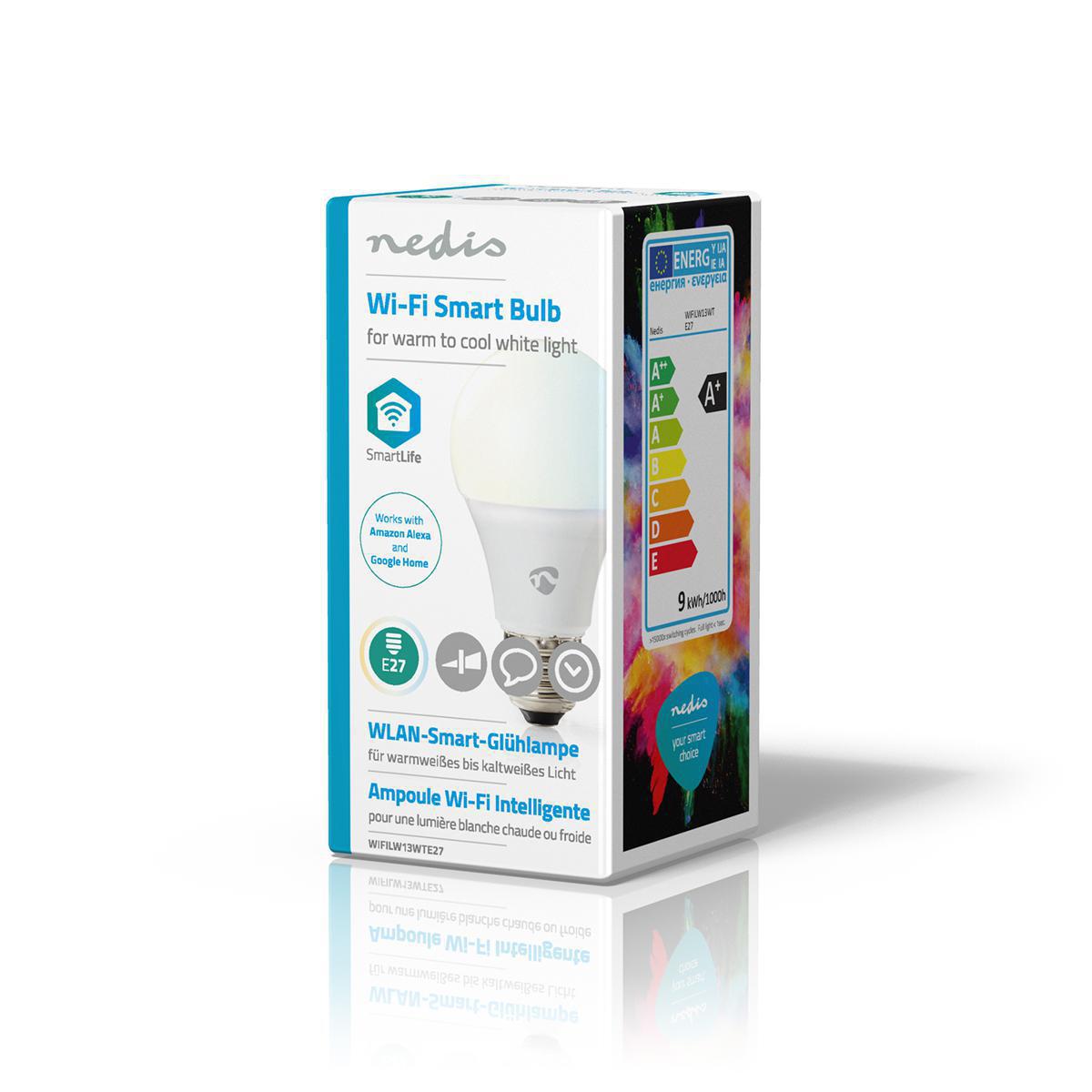 Slimme Wi-Fi Led Lamp 9 Watt CCT - Kleurwissel - zijkant verpakking
