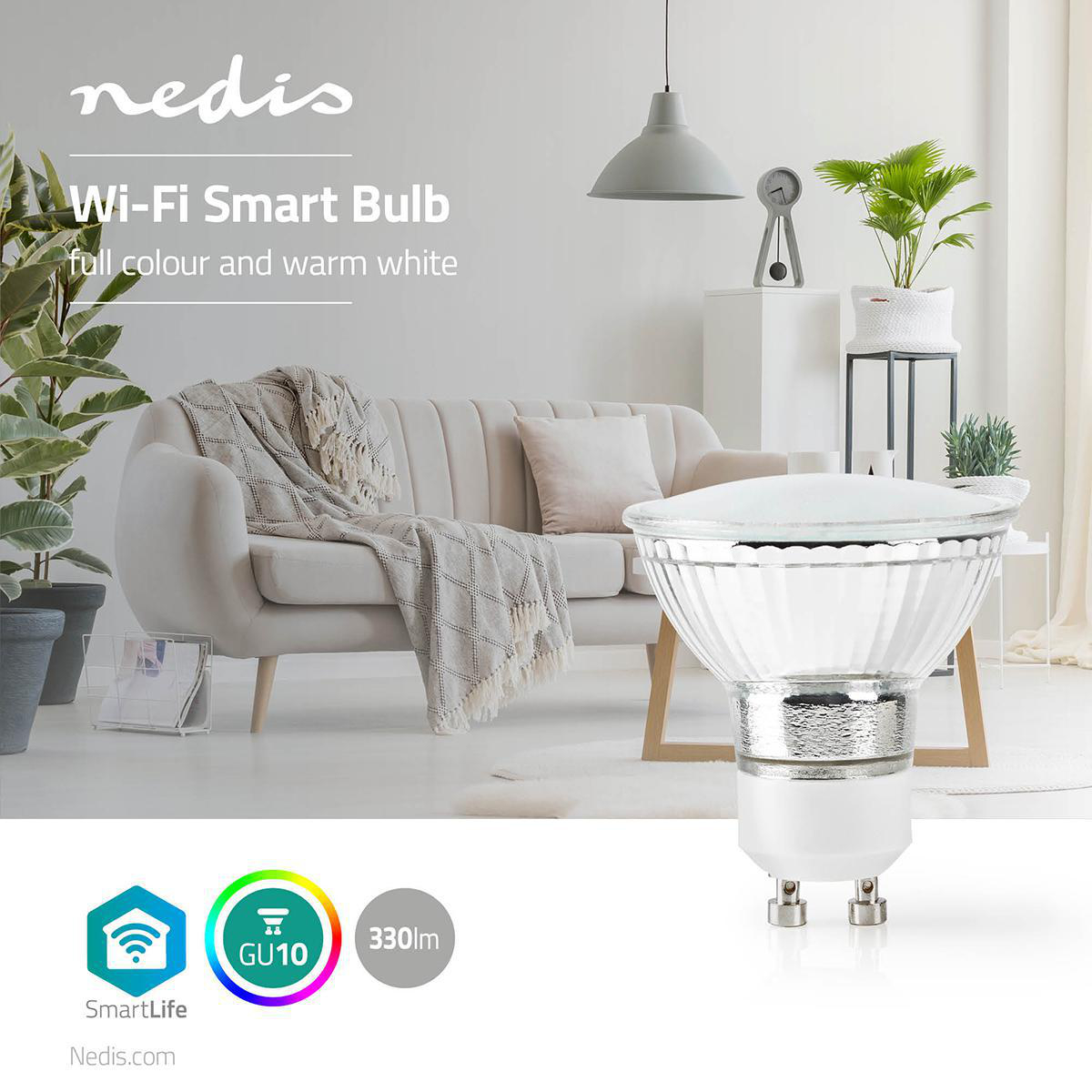 Wi-Fi Smart LED-Lamp | Full-Colour en Warm Wit | GU10 - sfeerfoto lamp
