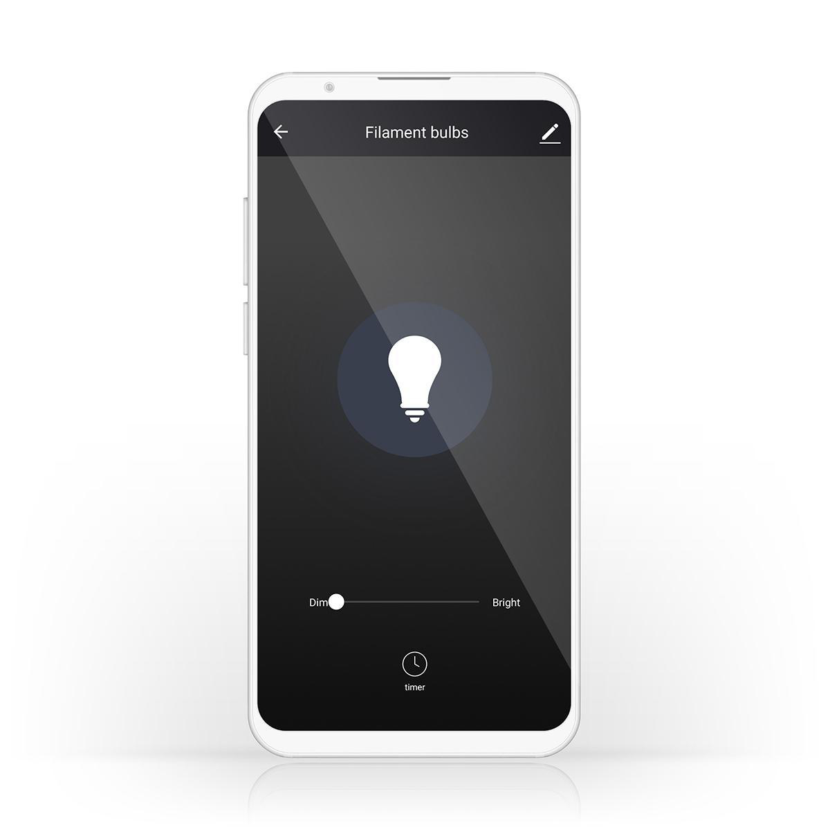 Slimme Wi-Fi Led Lamp helder glas 5 Watt 2700K warm wit - besturing telefoon