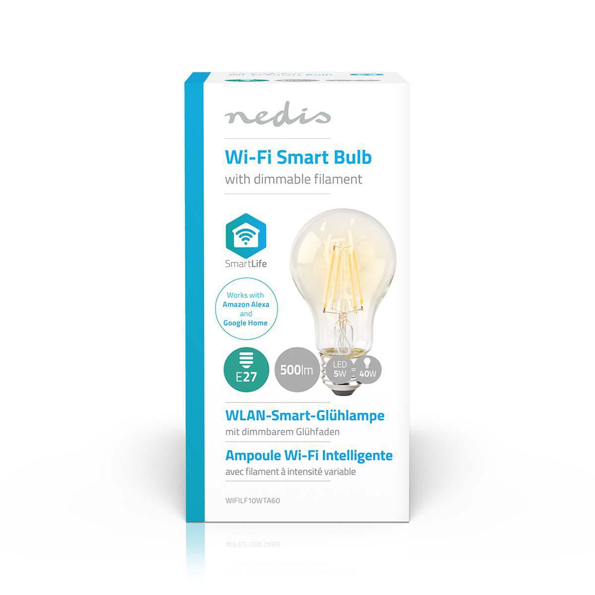 Slimme Wi-Fi Led Lamp helder glas 5 Watt 2700K warm wit - verpakking lamp