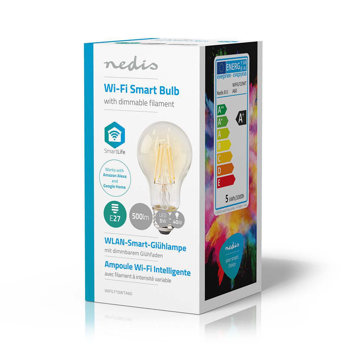 Slimme Wi-Fi Led Lamp helder glas 5 Watt 2700K warm wit - zijaanzicht verpakking