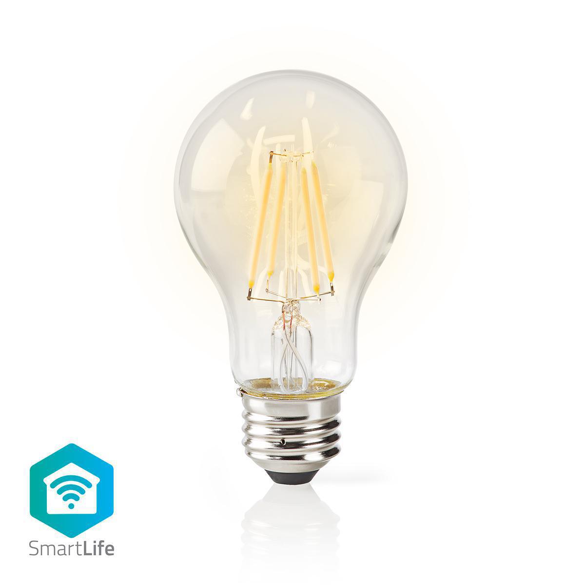 Slimme Wi-Fi Led Lamp helder glas 5 Watt 2700K warm wit - vooraanzicht lamp aan