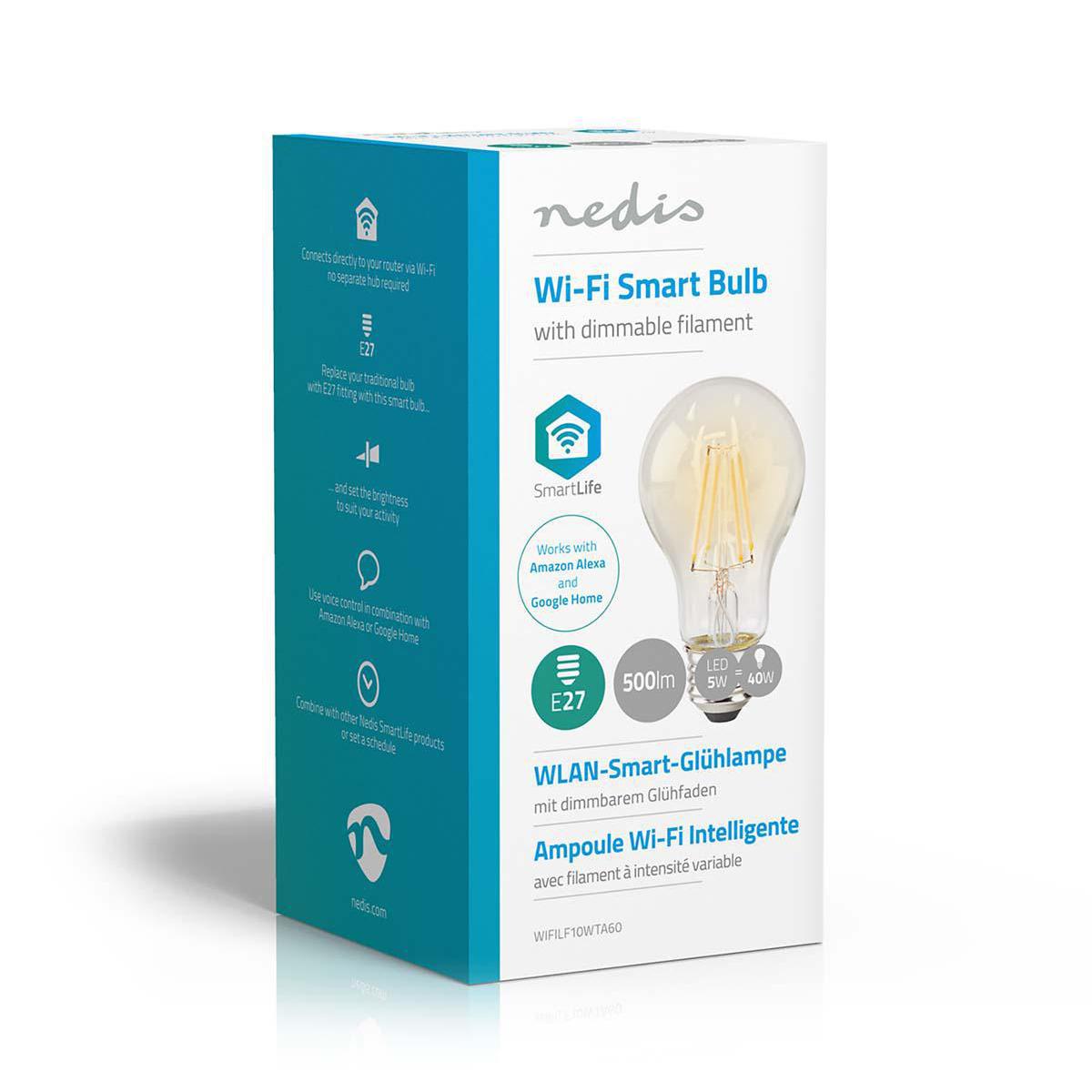 Slimme Wi-Fi Led Lamp helder glas 5 Watt 2700K warm wit - verpakking lamp schuin
