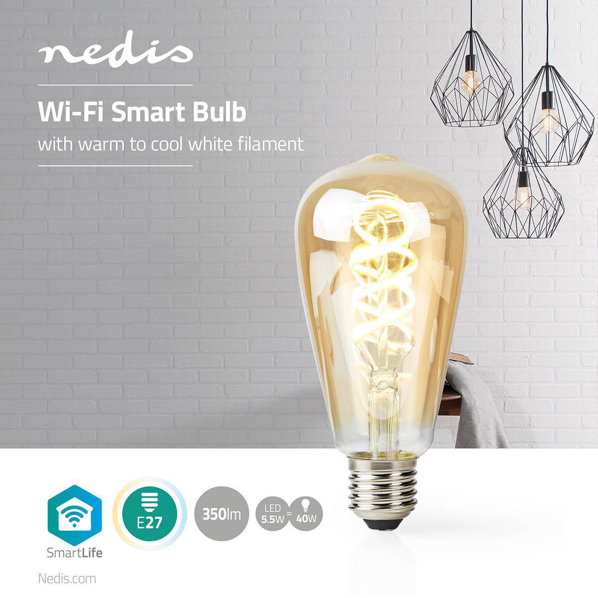 Slimme Led Edison Lamp met wifi E27 fitting 1800K - 6500K - sfeerfoto