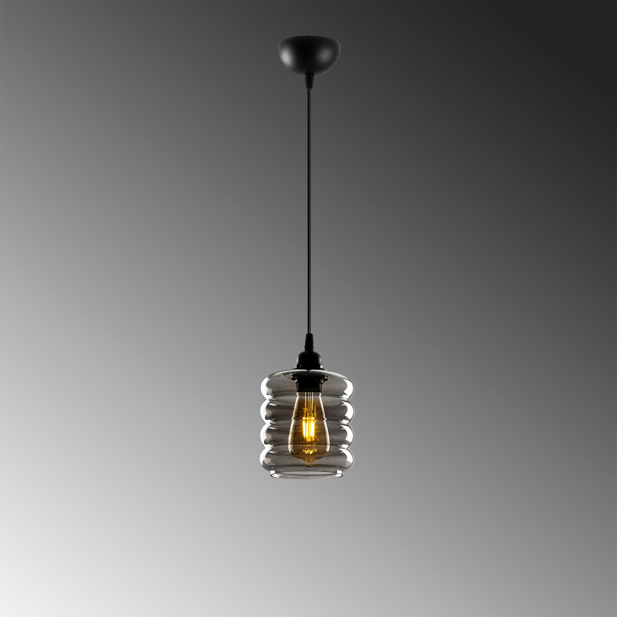Led hanglamp met golven 1 x E27 fitting - grijze achtergrond
