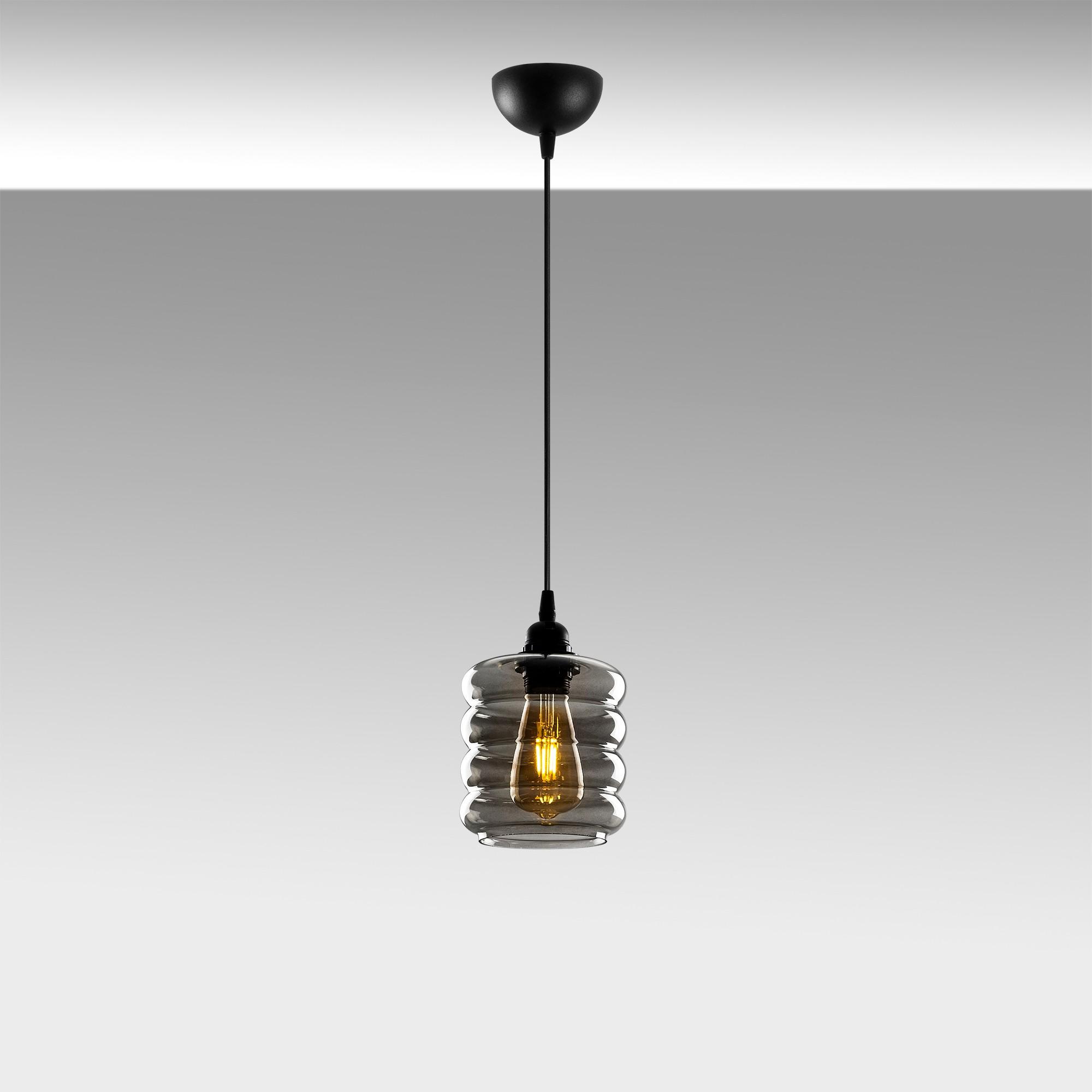 Led hanglamp met golven 1 x E27 fitting - sfeerfoto