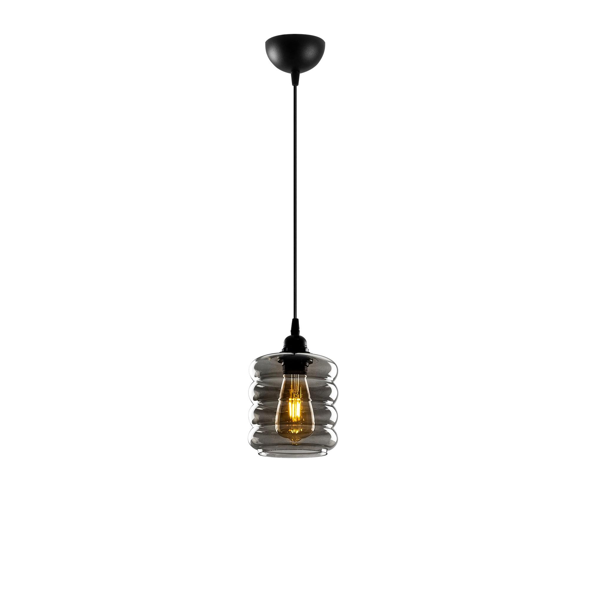 Led hanglamp met golven 1 x E27 fitting - vooraanzicht lamp aan