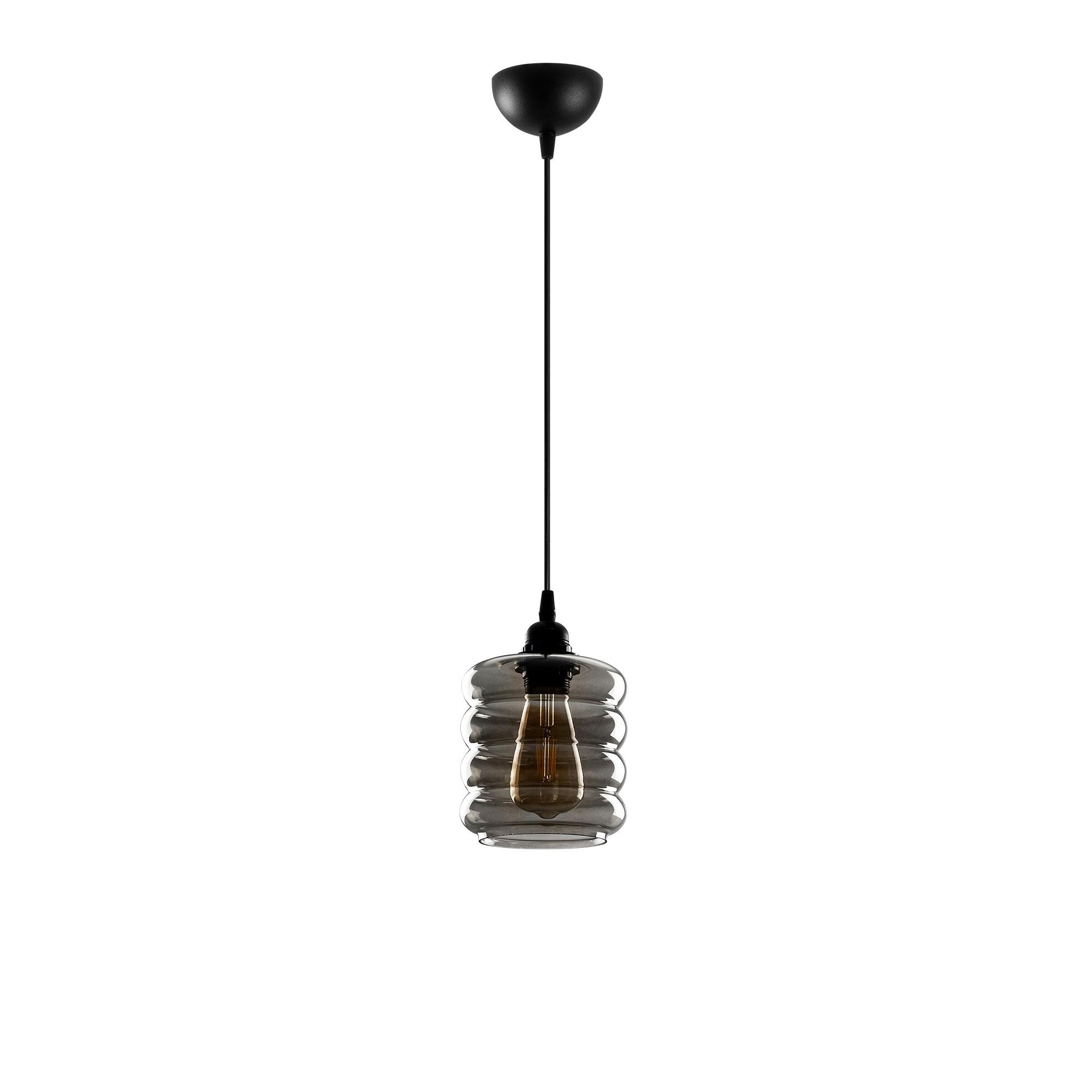 Led hanglamp met golven 1 x E27 fitting - vooraanzicht lamp uit