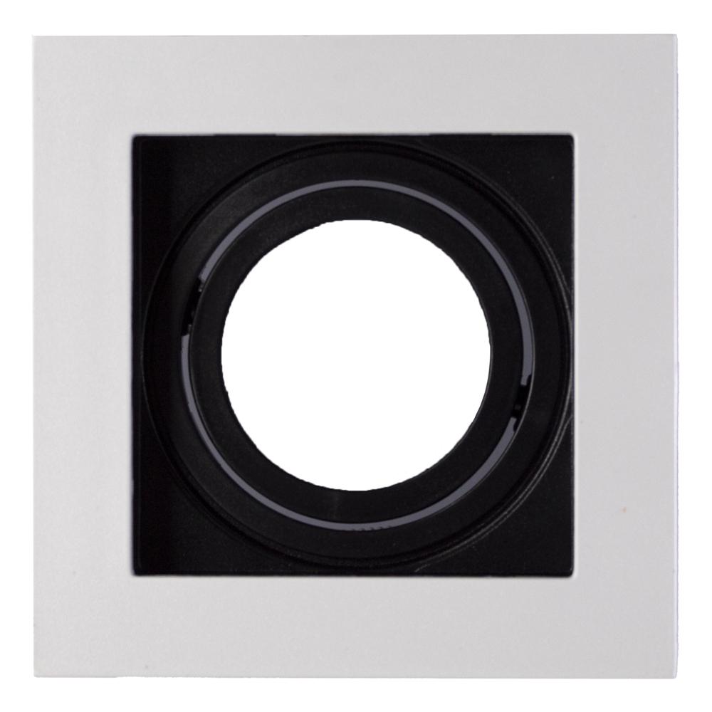 Spot armatuur MR16 - vierkant - zwart met wit - 95x95mm - kantelbaar