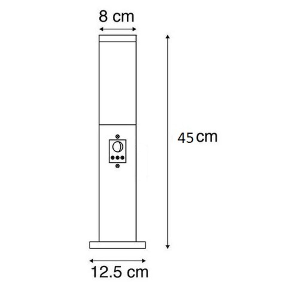 Staande buitenlamp lantaarn met sensor 45 centimeter E27 fitting - afmetingen