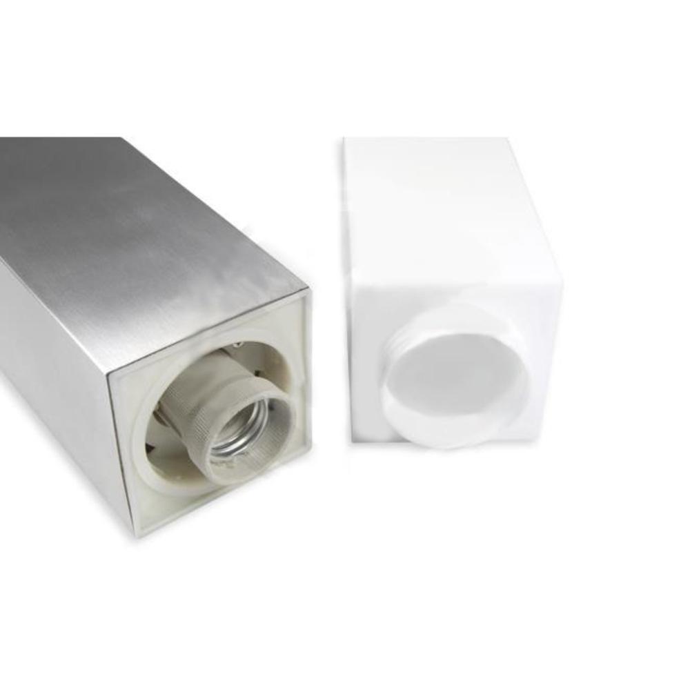Staande buitenlamp lantaarn met stopcontact 65 centimeter E27 fitting zilver - fitting