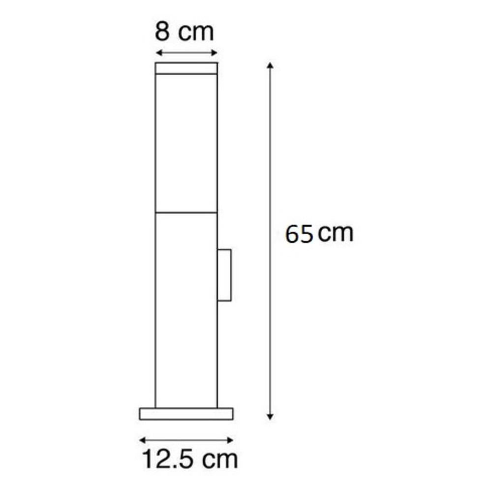 Staande buitenlamp lantaarn met stopcontact 65 centimeter E27 fitting zilver - afmetingen