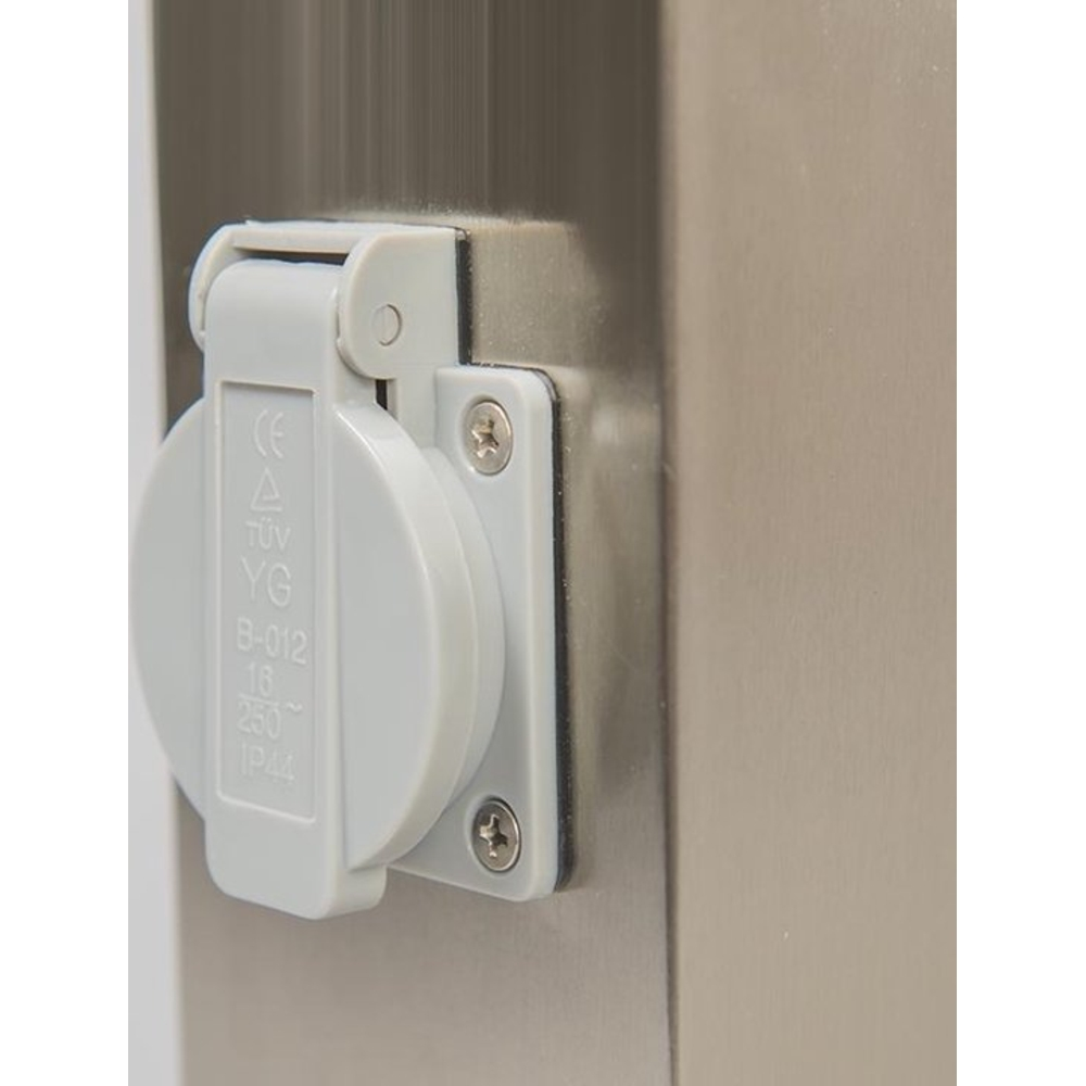 Staande buitenlamp lantaarn met stopcontact 65 centimeter E27 fitting zilver - stopcontact dicht