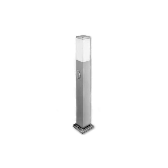Staande buitenlamp lantaarn met stopcontact 65 centimeter E27 fitting zilver - vooraanzicht