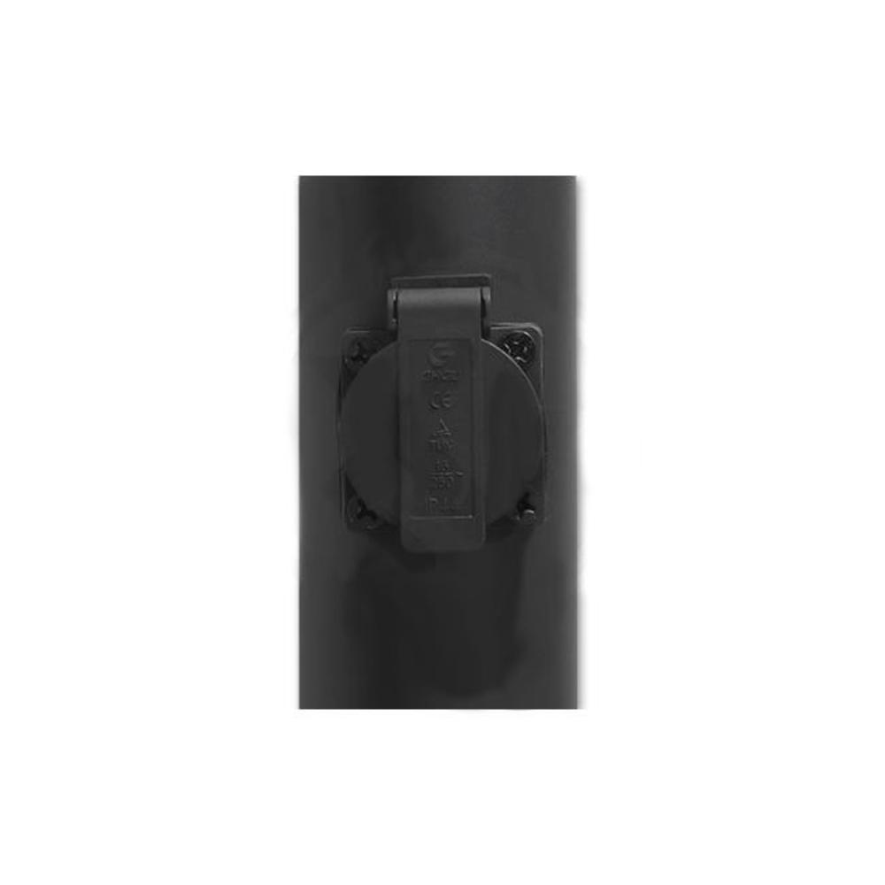 Staande buitenlamp lantaarn rond met stopcontact 65 centimeter E27 fitting zwart - stopcontact dicht
