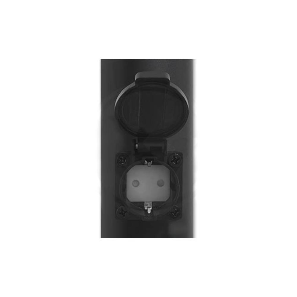 Staande buitenlamp lantaarn rond met stopcontact 65 centimeter E27 fitting zwart - stopcontact open